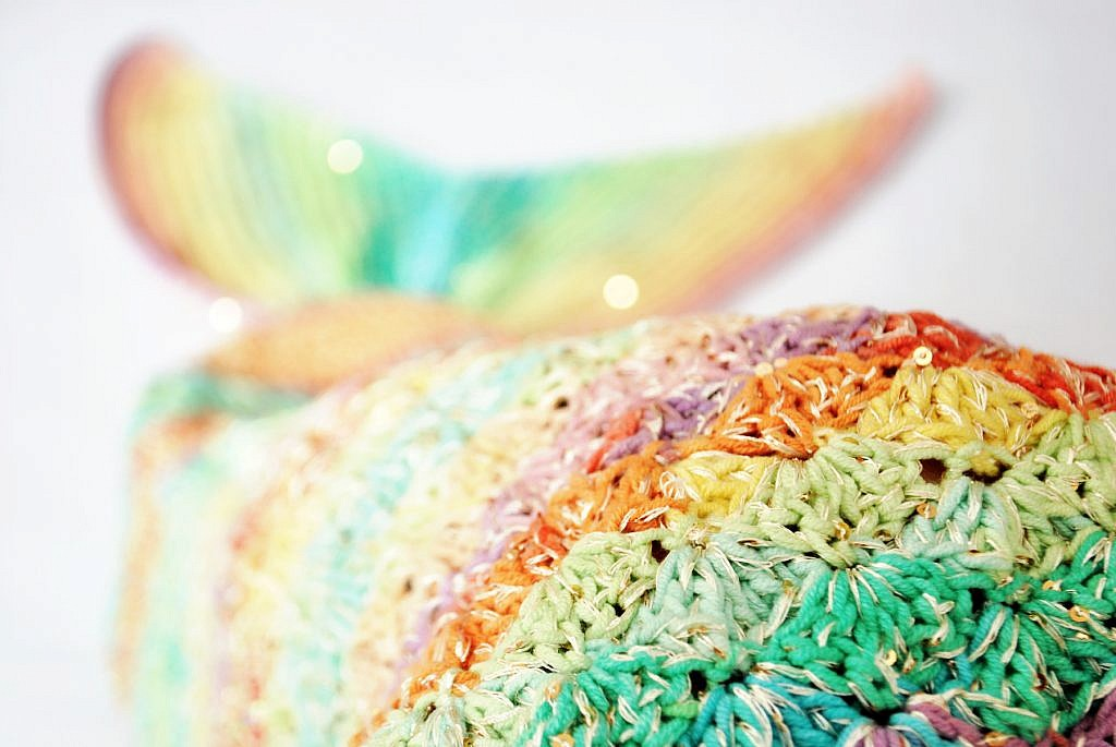 Crochet Mixed Rainbow Mermaid Tail